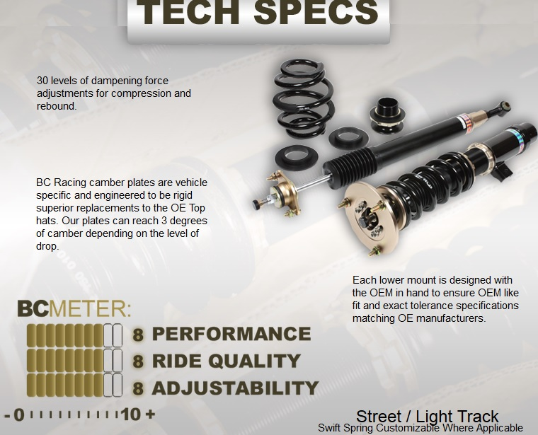 BC Racing BR Coilover Spec Sheet