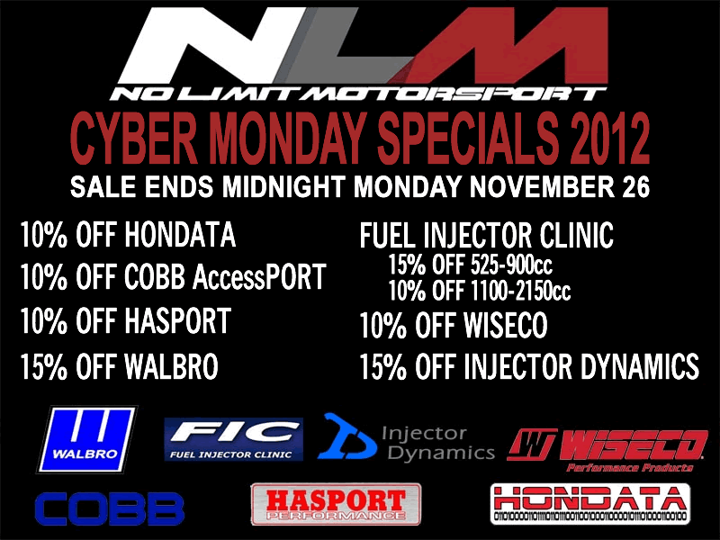 No Limit Motorsport's Cyber Monday Deals